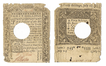 Colonial Note 1780 Connecticut 40 Shillings July 1, 1780 Printed by T. Green SN 2614
