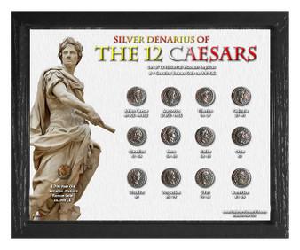 "Silver Denarius of the 12 Caesars Historical Replica Set in 8"" x 10"" Frame - H"