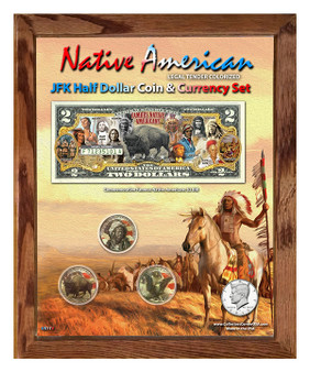 "Native American Colorized Coin & Currency Set in 8"" x 10"" Frame - Portrait"