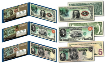 1869 Rainbow Series Set of All 3 $1, $2 & $5 Designs on Modern Bills