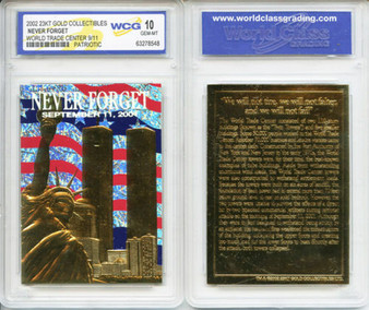 WTC 2002 23K Gold Sculptured Card Graded Gem Mint 10