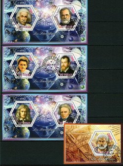 Tchad 2014 Famous Scientists Set of 4 Stamp Sheets