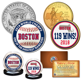 Boston Red Sox 2018 World Series Champions 119 WINS Legal Tender 2 Coin Set
