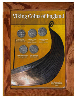 """Viking Coins of England Historical Replica Set in 5"""" x 7"""" Frame"""