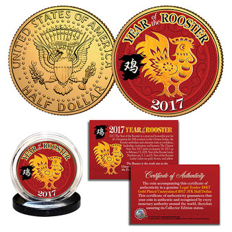 2017 Chinese Year of the Monkey 24K Gold Plated & Colorized JFK Half Dollar