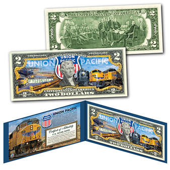 Union Pacific Train Company GE Locomotive Railroad Colorized $2 Bill