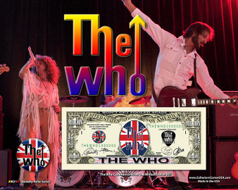 """""""The Who"""" Novelty Million Dollar Bill Obverse Display on an 8"""" x 10"""" Display Card"""