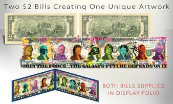 Rency Art Star Wars Panorama Set of 2 Colorized $2 Bills Hand Signed in Blue Folio