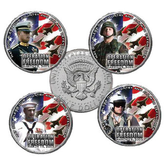 Operation Iraqi Freedom 5 Coin JFK Half Dollar Set