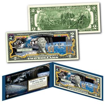 NASA International Space Station Colorized U.S. $2 Bill
