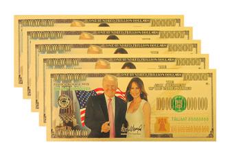 Set of 5 President Donald & Melania Trump $100 Trillion Gold Foil Novelty Bills