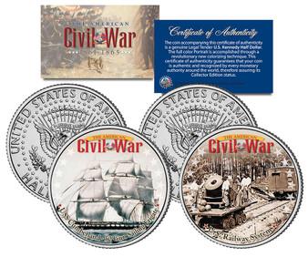 USS Cumberland Ship & Union Railway 2 Coin JFK Half Dollar Set