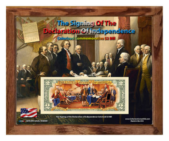 """Signing Of The Declaration of Independence Colorized $2 Bill in 8"""" x 10"""" Frame"""