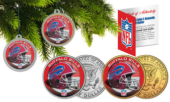 NFL Teams Christmas Ornaments Set of 2 Colorized JFK Half Dollars