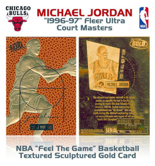 1996 Michael Jordan Ultra Court Masters Textured 23K Gold Sculptured Card