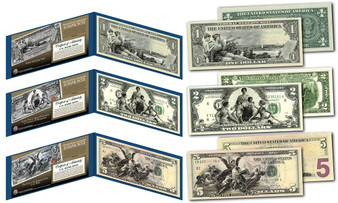 Set of all 3 1890's EDUCATIONAL SERIES Neoclassical Designed NEW Legal Tender Modern $1, $2 & $5 Bills