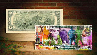 Rency Art Planet Of The Apes Colorized $2 Bill Hand Signed