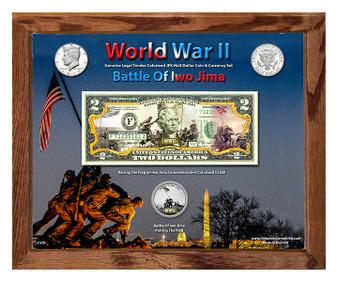 "World War II Battle Of Iwo Jima Colorized Coin & Currency Set in 8"" x 10"" Frame"