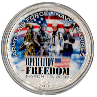 Operation Freedom Soldiers Commemorative Silver Eagle in Case