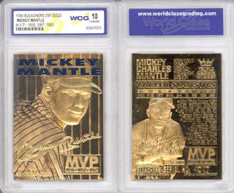 Mickey Mantle Yankees 3 Time MVP 1996 23K Gold Sculptured Card Graded Gem Mint 10