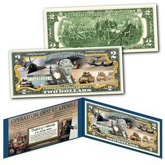 OPERATION DESERT STORM/SHIELD The Persian Gulf War Genuine Legal Tender Commemorative $2 Bill