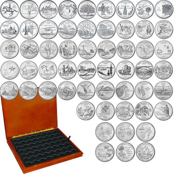State Quarter 1999-2009 Proof 56 Coin Set in Heirloom Case with Air-Tites