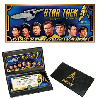 Star Trek 50th Anniversary U.S.S. Enterprise Crew 1/10 Gram 24K Gold Aurum Collector's Card