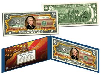 Old Design Flag Colorized $2 Bill