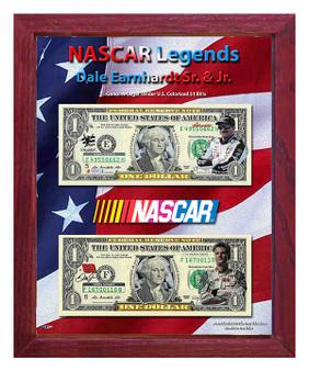 """NASCAR Legends Dale Earnhardt Sr. & Jr. Colorized $1 Bills in 8"""" x 10"""" Frame"""