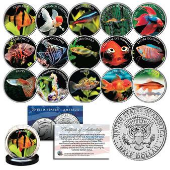 Tropical Fish Freshwater Aquarium Tank Colorized JFK Half Dollar Complete 15 Coin Set