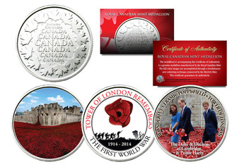Tower Of London Remembers WWI Set of 3 Canadian Royal Mint Coins