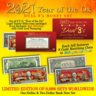 2021 CNY Year of the Ox Dual 8's U.S. $1 & $2 Bill Set