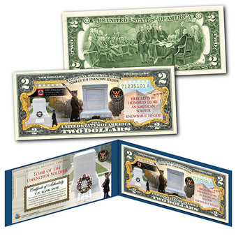 Tomb Of The Unknown Soldier Arlington National Cemetery Colorized $2 Bill