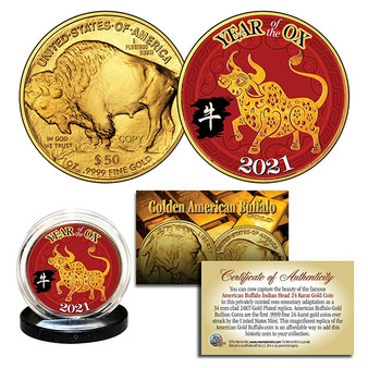 2021 Year of the Ox 24K Gold Clad $50 American Buffalo Tribute Coin