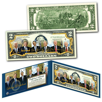 Living Presidents 2021 with Biden & Trump Colorized $2 Bill
