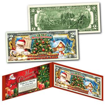 MERRY CHRISTMAS 2020 Seasons Greetings Colorized $2 Bill Santa's Nice List
