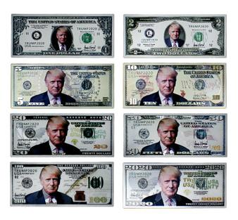 Set of 8 Silver Trump Commemorative Novelty Bills - Front