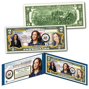 Kamala Harris Historic First Woman U.S. Vice President Colorized $2 Bill