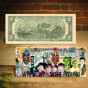 Historical Figures Beatles Elvis Monroe Enjoy Life Rency Art $2 Bill