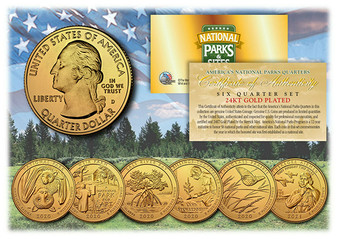 24K Gold Plated National Parks 2020/2021 6 Coin Set