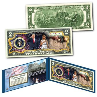 Donald & Melania Trump Mount Rushmore July 4th Colorized $2 Bill