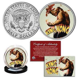 King Kong 1933 Original Movie Poster Colorized JFK Half Dollar