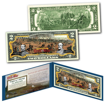 Battle Of Gettysburg Commemorative Civil War Colorized $2 Bill
