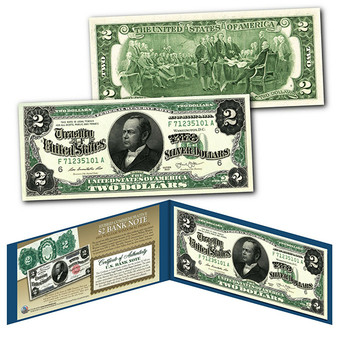 1886 William Windom Civil War Treasury $2 Banknote Design on Modern $2 Bill