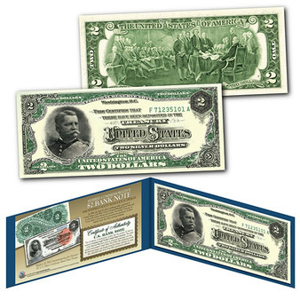 1886 Winfield Scott Hancock Civil War Treasury $2 Banknote Design on Modern $2 Bill