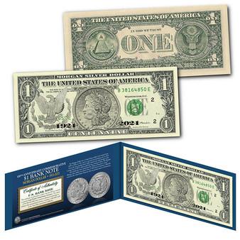Genuine $1 Bill commemorating 100th Anniversary final MORGAN DOLLAR Silver Coin