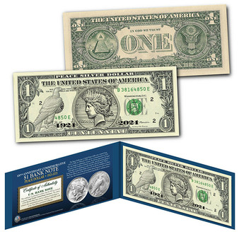 Genuine $1 Bill commemorating 100th Anniversary first PEACE DOLLAR Silver coin
