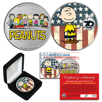 2020 Peanuts Charlie Brown 70th Anniv 1 OZ .999 SILVER Coin S/N of 70 AMERICANA