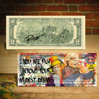 Rency Art Willy Wonka Rich Beyond Wildest Dream Signed By Rency $2 Bill - Serial # Ltd of 99