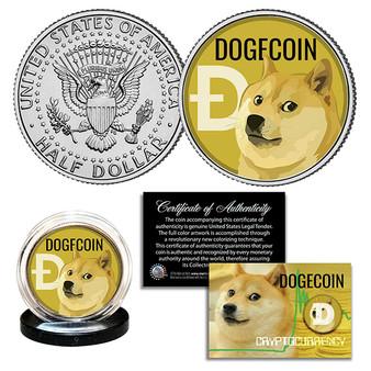 DOGECOIN Cyrptocurrency Colorized Commemorative JFK Half Dollar